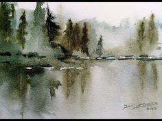 "Loose Transparent Watercolor Painting Demonstration ""Misty Lake"" - YouTube #watercolorarts"