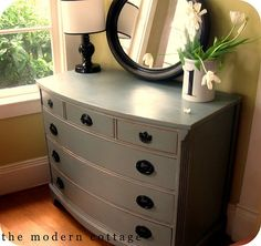 DIY...I love love love this! So easy, just time consuming. It makes me want to hit craigslist and buy old junk stuff and redo it. I also like the wall color. This would work in the Master Bedroom.