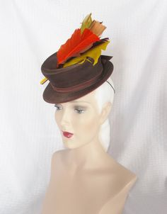 30's 40's Vintage Toy Tilt Hat with Colorful by MyVintageHatShop, $65.00