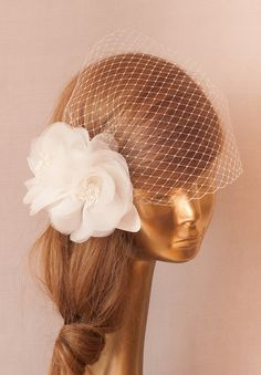 WEDDING BRIDAL BIRDCAGE VEIL. Ivory Silk Organza Flower by ancoraboutique, $129.00