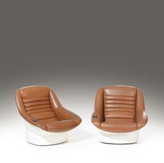 Cesare Casati and Enzo Hybsch; Fiberglass and Leather 'Alba' Chairs with Integrated Stereo for Comfort, c1966.