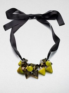 Marni Conical Cluster Ribbon Necklace