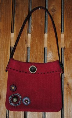 Upcycled Red Felted Wool Purse  Leather Shoulder by OliviasLLC, $60.00