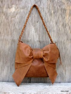 Leather Bow Shoulder Bag in Distressed Brown by by stacyleigh, $275.00
