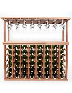 48 Bottle Wine and Stemware Rack - Mahogany : Wine Racks - Wine Rack Storage & Cellar Design Wine Cellar Racks, Wine Glass Rack, Wood Wine Racks, Wine Racks For Sale, Standing Wine Rack, Countertop Wine Rack, Modern Wine Rack, Modern Tabletop, Wine Rack Storage