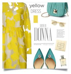 """""""La Donna"""" by marina-volaric ❤ liked on Polyvore featuring P.A.R.O.S.H., Paul Andrew, La Regale, Christian Dior, Oliver Peoples and yellowdress"""