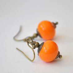 Pumpkin Orange Hollow Glass Earrings Light Weight by bstrung
