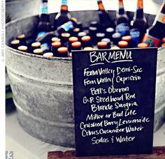 Bar Menu #wedding #rustic