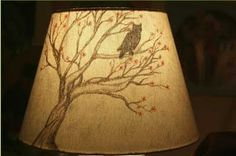 My Owl Barn: Silver Owl Of Spring Lampshade