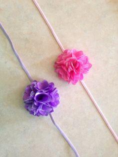 Flower Headband, Satin and Tulle Puff Flower on Skinny Elastic Headband - set of 2, Baby Toddler Girl Adult on Etsy, $7.00