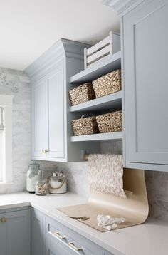 Home Tour Series Laundry Room Jillian Harris Hom Blue Laundry Rooms, Laundry Room Cabinets, Blue Cabinets, Laundry Room Organization, Laundry Room Design, Painting Kitchen Cabinets, Mud Rooms, Laundry Closet, Small Laundry