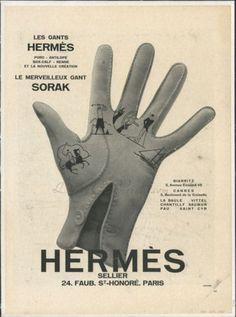 Vintage Hermes novelty print glove ad, 1930. #vintage #1930s #gloves #ads