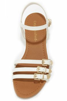 City Classified Pinkie White Patent Wedge Sandals
