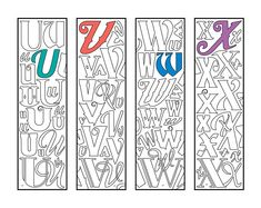 Make reading fun with this awesome set of monogram alphabet printable bookmark coloring pages, which are available in my shop, or in my Etsy shop: DJPenscript. These printable bookmarks m… H Monogram, Monogram Alphabet, How To Make Bookmarks, Journal Template, Cool Fonts, Fun Fonts, Free Printable Coloring Pages, Color Card, Colouring Pages