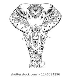 Illustrazione del vettoriali, clipart e vettori stock African elephant decorated with Indian ethnic floral vintage pattern. Hand drawn decorative animal in doodle style. Stylized mehndi ornament for tattoo, print, cover, book and coloring page. Indian Elephant Art, African Elephant, Elephant Template, Elephant Pattern, Madhubani Art, Madhubani Painting, Indian Patterns, Henna Patterns, Mandala Drawing