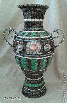 Поделка изделие Плетение ваза в подарок Бумага газетная Трубочки бумажные