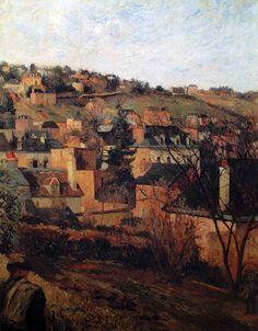 Paul Gauguin - Post Impressionism - Rouen, les toits bleus - Rouen, blue roofs - 1884