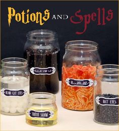 I have a feeling it's going to be a Harry Potter Theme for Josiah's b'day! - Harry Potter Party Ideas Meyers Meyers Weitz- I think the jars are perfect for your party decor! Harry Potter Motto Party, Harry Potter Fiesta, Harry Potter Thema, Harry Potter Halloween Party, Theme Halloween, Harry Potter Potions, Theme Harry Potter, Harry Potter Birthday, Halloween Birthday