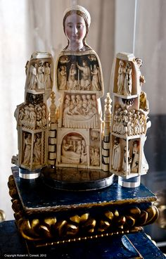 Devotional Image 'Virgin of the Paradise' (Virgem do Paraiso). Scenes from the Life of the Virgin. Ivory, wood, silver, gold and pearls. Perhaps from a Parisian atelier. Presently in the Episcopal Museum. Evora, Alentejo, Portugal. 14C