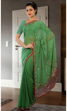 Gleaming Emerald Green Embroidered Saree #Sarees #Sarees-OnlineShopping