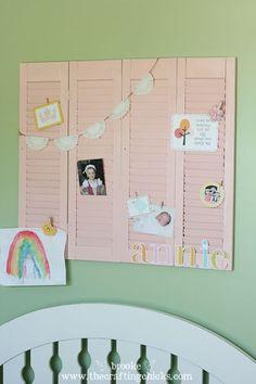 pinterest shutters | Shutters!! Makes a great spot to hang Kid Art! Paint shutters ...
