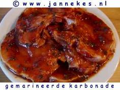 recepten voor gemarineerde karbonade Meat Love, Teppanyaki, Tapenade, Barbecue, Slow Cooker, Recipies, Pork, Fish, Cooking