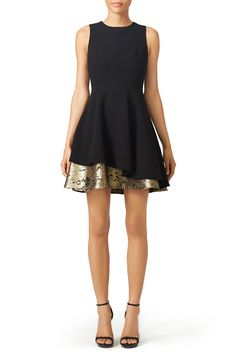 Black fit and flare dress with gold layer detail. Perfect for a fall wedding!  Slate & Willow Fifi Dress