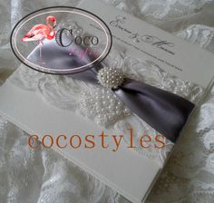 super fashion luxury lace wedding invitation card with pearl brooch(China (Mainland))