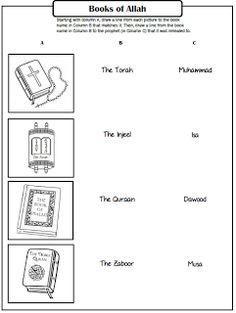 Pillars of Eemaan Worksheets: Books of Allah ~ TJ Homeschooling