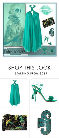 """""""Jade Dancer"""" by michelletheaflack ❤ liked on Polyvore featuring Jay Ahr, Aquazzura, Gucci, polyvorecontests and halterdresses"""