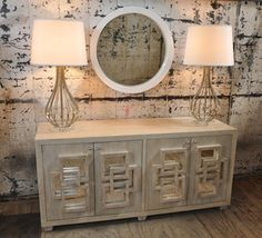another geometric mirrored credenza