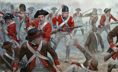 A force of British infantry from a mixture of regiments punch out of a tightening circle of Continental Army and Marine soldiers during the battle of Princeton, January 3rd 1777. Art by Graham Turner.