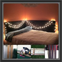 DIY Headboard! I made this out of some fence posts, wood stainer, and thats it! And I love how I can do whatever I want to it when I get bored. I can make it taller, paint on it (my original idea) or anything else! Love it. And it looks soo cute in my room:)