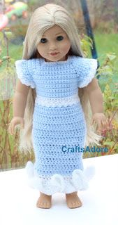 CraftsAdore: Frozen Inspired Crochet Dress for American Girl Doll or other 18 inch dolls Free Crochet Pattern