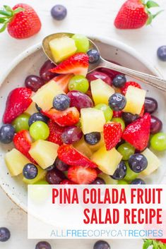 This pina colada fruit salad couldn't be easier to make! This refreshing recipe is perfect to make for your next summery occasion. Pina Colada Fruit Salad Recipe, Fruit Salad Recipes, Summer Potluck, Love Ice Cream, Non Alcoholic, Ice Cream Recipes, Summer Recipes, Sweet Recipes, Food To Make