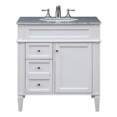 Home Decorators Collection Sonoma 36 in. W x 22 in. D Bath Vanity in Pebble Grey with Carrara Marble Top with White Sinks 8105100240 - The Home Depot Vanity Sink, Elegant Lighting, Bathroom Furniture, White Marble Countertops, Guest Bathroom, Bathroom Vanity, Small Bathroom, Bathroom, Bathroom Essentials