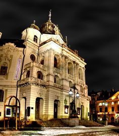 Theatre at night in Kosice, Slovakia Fortification, My Town, Bratislava, Czech Republic, Homeland, Prague, Worlds Largest, Twilight, Theatre