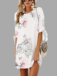 b1c7180c817 White Random Floral Print Self-tie at Sleeves Mini Dress - US 19.41
