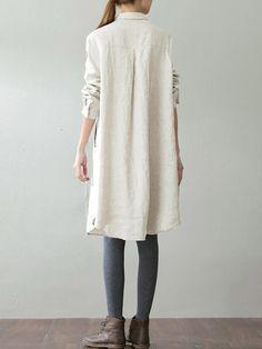 O-NEWE Casual Women Turn-down Collar Cotton Blouse - Banggood Mobile