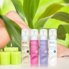 Eos shaving cream...Very nice! The only cream I've ever used where I didn't have to lotion my legs afterwards!