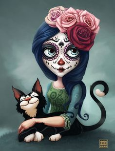 catrina & cat, eduardo berazaluce on ArtStation at https://www.artstation.com/artwork/bbeqo