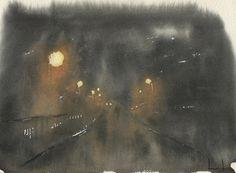 """3AM (Magdalen Bridge, Oxford)"" by Freddie Davies. Watercolour. 2016. http://freddie-davies.wix.com/artist A nocturne of Oxford."