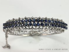 VINTAGE 1970's 14K WHITE GOLD FILLIGREE WIRE SAPPHIRE & DIAMOND HINGED BANGLE #HindgedBangleBracelet
