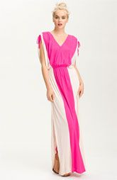 FELICITY & COCO Surplice Contrast Panel Jersey Maxi Dress