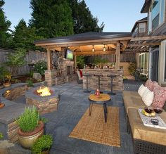 Firepit, bar island, fireplace, living room, putting gree...http://www.paradiserestored.com/portfolio_item/roscoe/