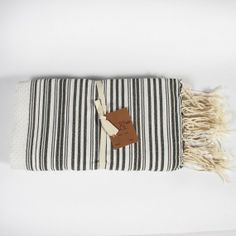 HD Buttercup white & black stripe fouta guest towel.  #HDButtercupxgoop