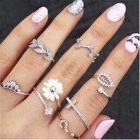 Wish | Fashion Women's 3PCS Nice Finger Rings Reinstone Rings Fashion Jewelry