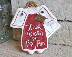 Pop Pop Gift Salt Dough Father's Day Ornament Grandfather Birthday / Christmas