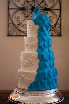Indian or Asian style peacock wedding cake, white & blue