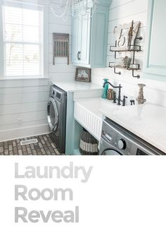We went with a very classic look with shiplap walls and brick flooring. To bring. Laundry Room Colors, Blue Laundry Rooms, Laundry Room Shelves, Laundry Room Remodel, Laundry Room Cabinets, Laundry Room Organization, Laundry Room Design, Mud Rooms, Laundry Room Inspiration